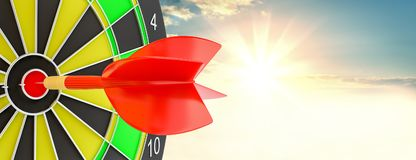 Target hit in center by arrows. 3d illustration. Sunrise on background Royalty Free Stock Photos