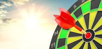 Target hit in center by arrows. 3d illustration. Sunrise on background Stock Images