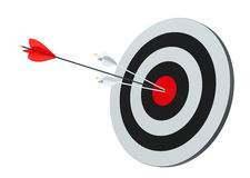 Target hit in center by arrows. Isolated on white, 3D Rendering Royalty Free Stock Images