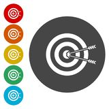 Target hit in the center by arrows. Vector icon vector illustration