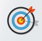 Target hit in the center by arrows. Vector icon illustration.  Stock Images
