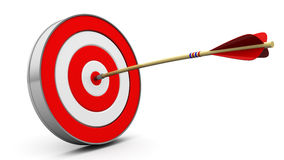 Target hit. 3d illustration of target with arrow hit in center Royalty Free Stock Photography
