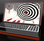 Target Hit On Laptop Showing Perfect Shot Stock Image