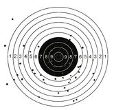 Target with holes. Target with bullet holes in different part Stock Photos