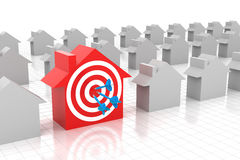 Target home. Concept, 3d render, white background Royalty Free Stock Photos