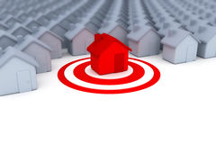 Target house. In red - 3d render Royalty Free Stock Images