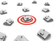 Target House. 3D image of targeting house Stock Photography