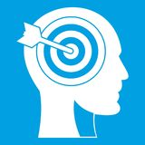 Target in human head icon white. Isolated on blue background vector illustration Royalty Free Stock Photos