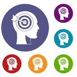 Target in human head icons set. In flat circle red, blue and green color for web Royalty Free Stock Photo