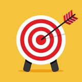 Target icon. Arrow hitting a target. Vector illustration stock illustration