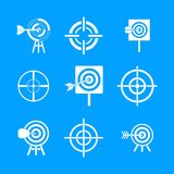Target icon blue set vector. Target icon set. Simple set of target vector icons for web design isolated on blue background Stock Images