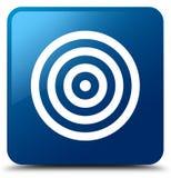 Target icon blue square button Stock Photo