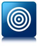 Target icon blue square button Stock Photos