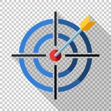 Target icon with dart in flat style on transparent background. Target icon with dart and long shadow in flat style on transparent background royalty free illustration