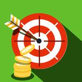 Target Icon with Dollar Coins. Vector Illustration Vector Illustration