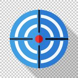 Target icon in flat style on transparent background. Target icon in flat style with a long shadow on transparent background stock illustration