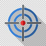 Target icon in flat style on transparent background. Target icon in flat style with long shadow on transparent background vector illustration