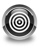Target icon glossy black round button Stock Photography