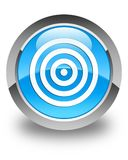 Target icon glossy cyan blue round button Stock Photo