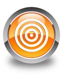 Target icon glossy orange round button Royalty Free Stock Photography