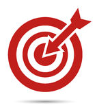 Target icon. Red target icon, with arrow. Aim Stock Photo