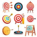 Target icon set, cartoon style royalty free illustration