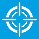 Target icon white. Isolated on blue background vector illustration Royalty Free Stock Image
