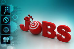 Target icon on the word job Stock Images