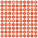 100 target icons hexagon orange Royalty Free Stock Image