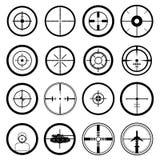 Target icons set. In black Royalty Free Stock Image