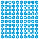 100 target icons set blue. 100 target icons set in blue hexagon isolated vector illustration Royalty Free Illustration