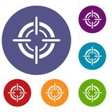 Target icons set. In flat circle reb, blue and green color for web Stock Images