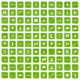 100 target icons set grunge green. 100 target icons set in grunge style green color isolated on white background vector illustration Stock Image