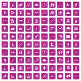 100 target icons set grunge pink. 100 target icons set in grunge style pink color isolated on white background vector illustration vector illustration