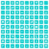 100 target icons set grunge blue. 100 target icons set in grunge style blue color isolated on white background vector illustration Royalty Free Stock Images