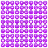 100 target icons set purple. 100 target icons set in purple circle isolated on white vector illustration royalty free illustration
