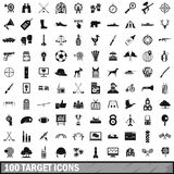 100 target icons set, simple style. 100 target icons set in simple style for any design vector illustration Royalty Free Stock Image