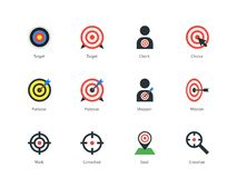 Target icons on white background. Royalty Free Stock Photos