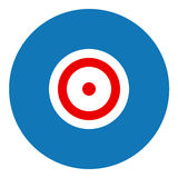Target illustration. Flat design icon - filled circle blue red and white Royalty Free Stock Photos
