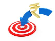 Concept of Targeting Indian Rupee in white background. 3d rendering royalty free illustration