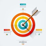 Target infographic template. Business concept of 3 options, steps, parts. Target infographic template. Vector illustration with the arrow that hit the target Royalty Free Stock Photography