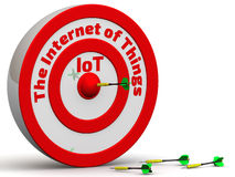 The target with the inscription The Internet of Things and dart in center Stock Images