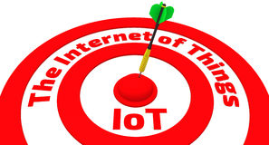 The target with the inscription The Internet of Things and dart in center Royalty Free Stock Photo