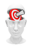Target inside a head Stock Image