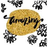 target55_0_ Kaligraficzna literowanie ręka rysująca Biali tło, kwiaty i złoto rama, Modny i nowożytny projekt Literowanie plakat Zdjęcia Royalty Free