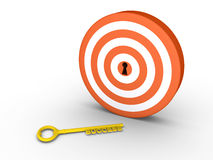 Target with keyhole and success-key on the ground Royalty Free Stock Photo
