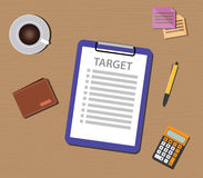 Target list illustration with check and clipboard document royalty free illustration