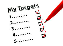 Target list out with tick Stock Photo