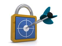 Target on lock or security Stock Images