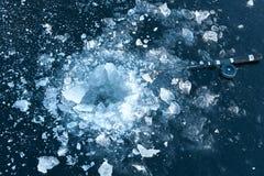 target142_1_ lodowych właśnie kłamstw wychwytany zima zander Ukraina Dnepr rzeka Zdjęcia Stock